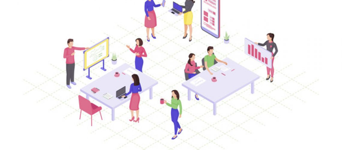 Teamwork isometric color vector illustration. Coworking, collaboration infographic. Marketing research. Project management. Business presentation, conference 3d concept. Webpage, mobile app design